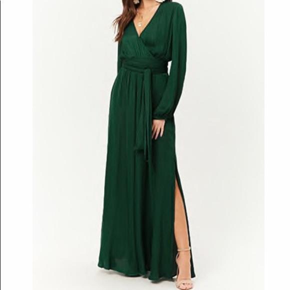 d39ef2702c5 Forever 21 Dresses   Skirts - Forever 21 Green Belted Surplice Maxi- Large  (EUC